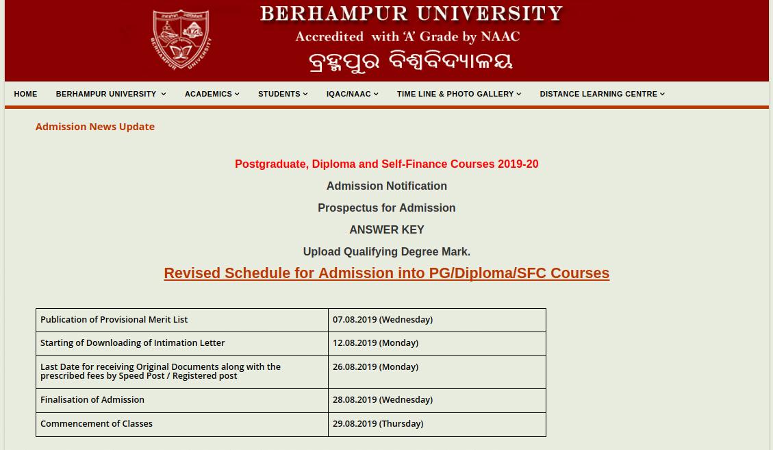 Berhampur University PG Dates