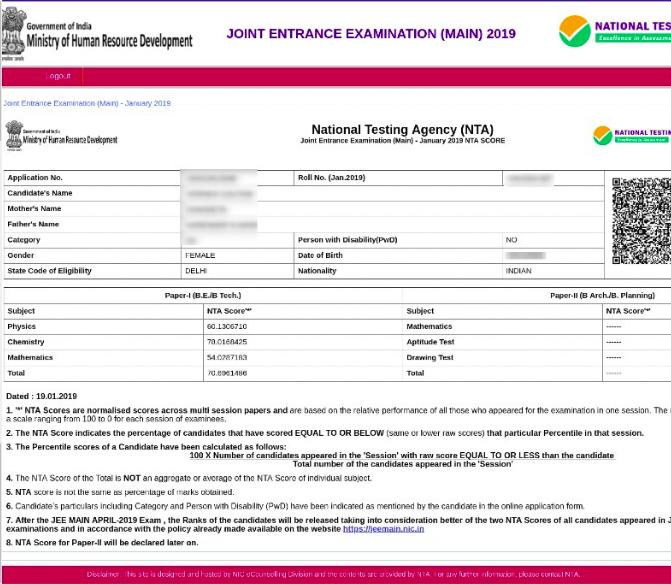 Jee Main Score Card 2021 Download Pdf Paper