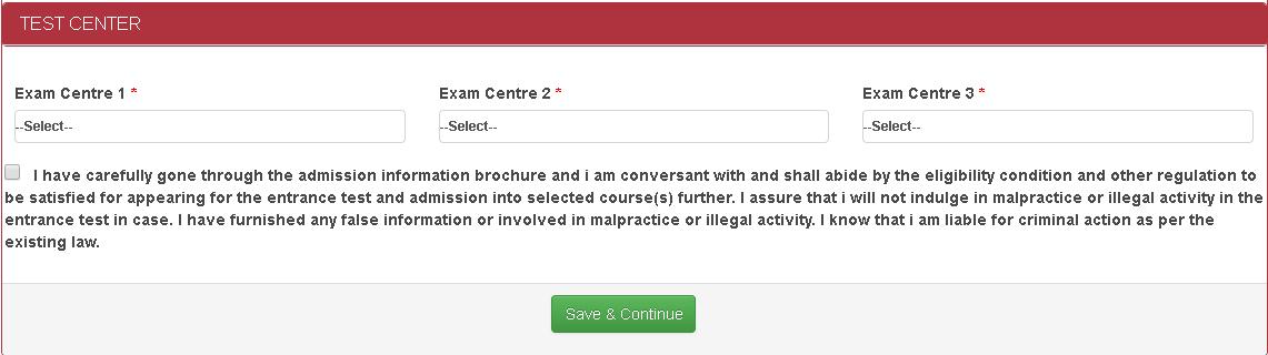 AUCET Online Form Exam Center Details