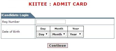 kiitee admit card login