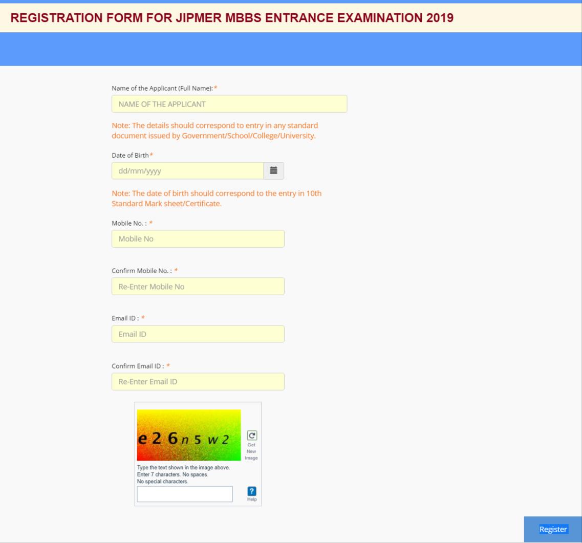 JIPMER Application Form 2019 Registration