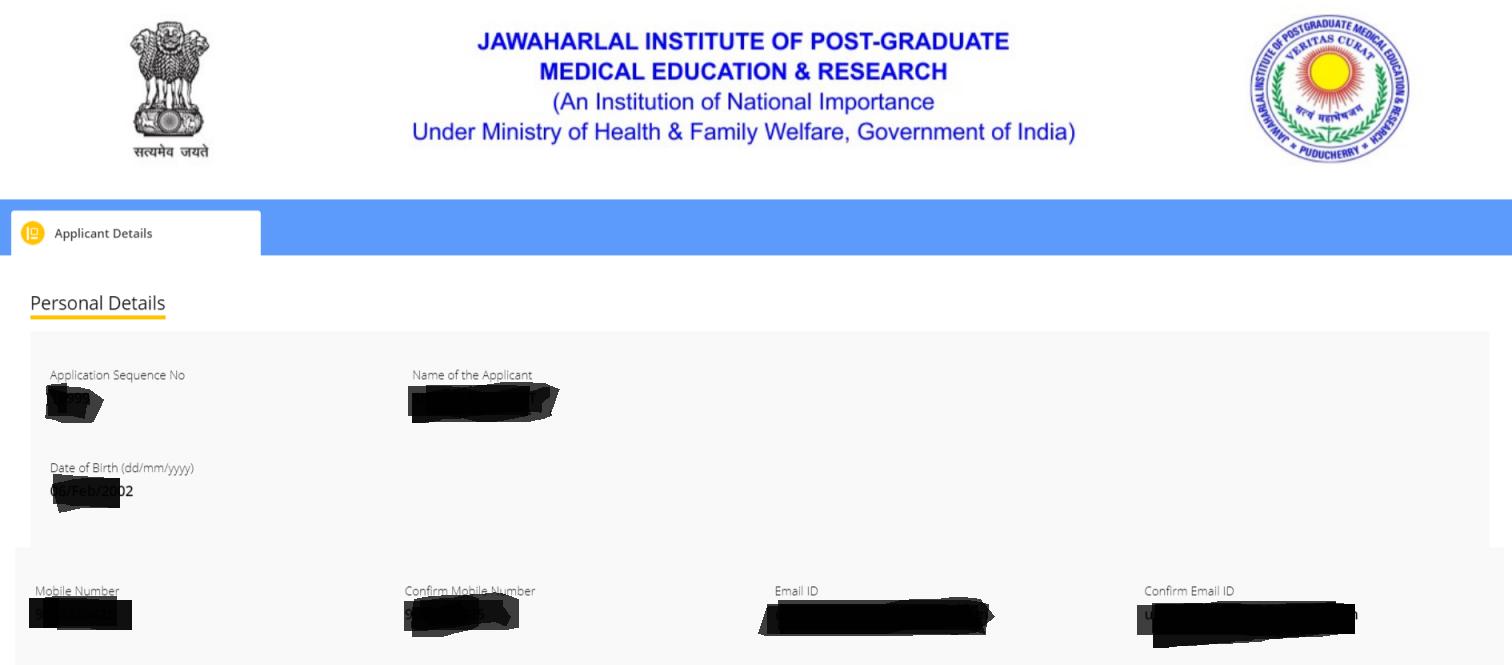 JIPMER Application Form 2019 Registration Successful