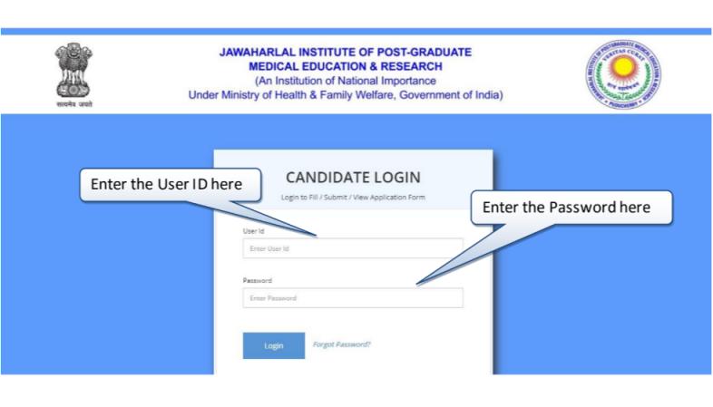 JIPMER 2019 Candidate Log in