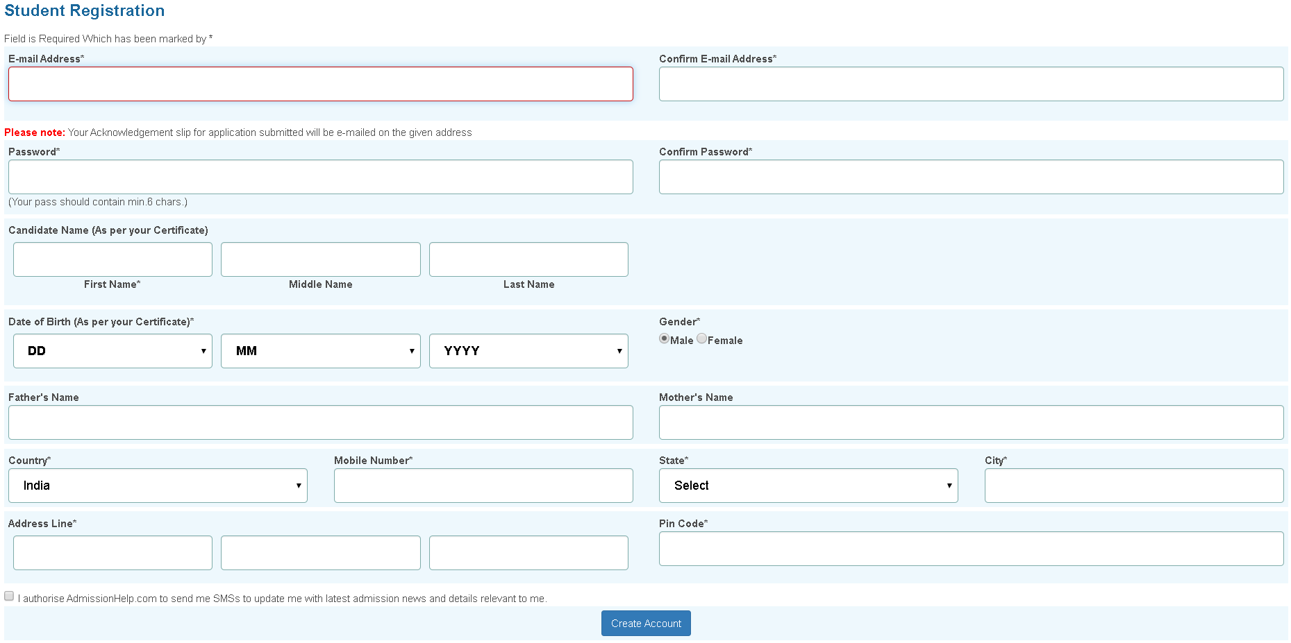 AILET Application Form Student Registration