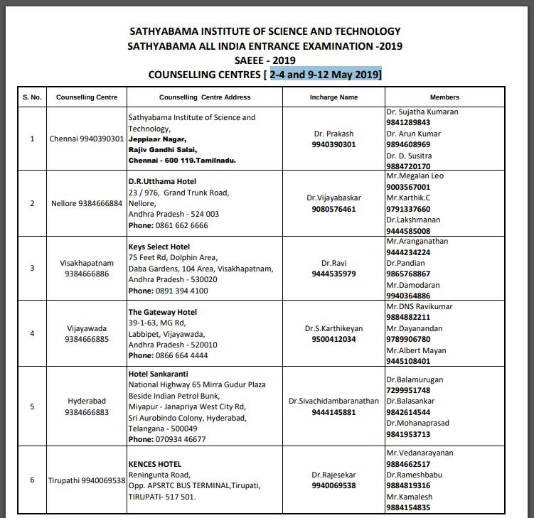 Sathyabhama University Counselling Schedule 2019