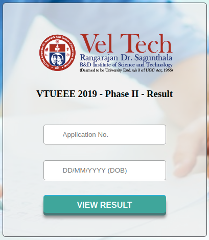 VTUEEE Result 2019 Login