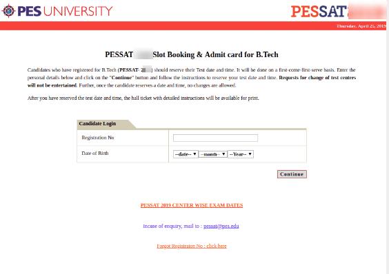 PESSAT Slot Booking Process