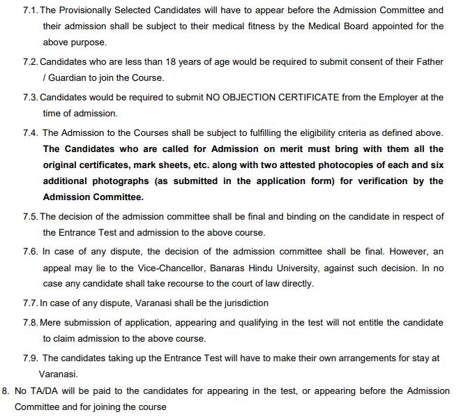 Admission Criteria for BHU B.Sc Nursing 2019