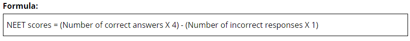 NEET 2019 Score Formula
