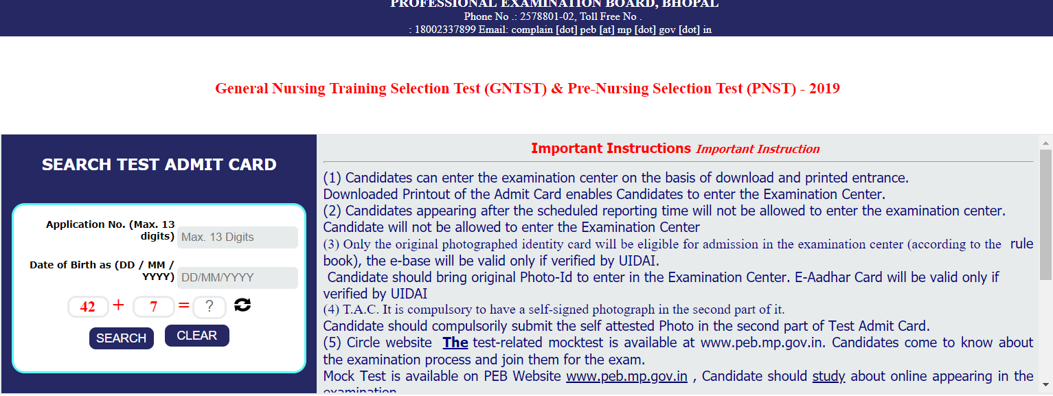 MP GNTST and PNST Admit Card 2019