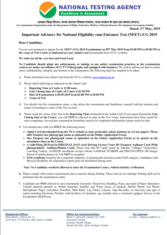 NEET UG Important Advisory Information by NTA