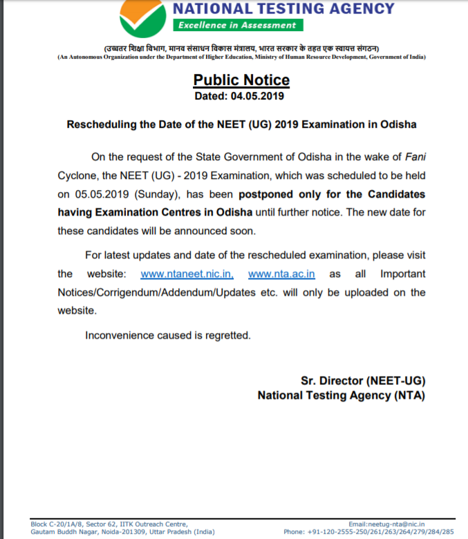 Rescheduling Neet Exam 2019 for Odisha Candidates