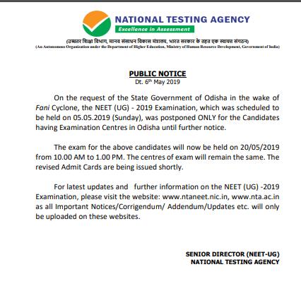 NEET Rescheduled Exam 2019 for Odisha