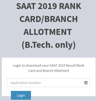 SAAT 2019 Branch Allotment Card