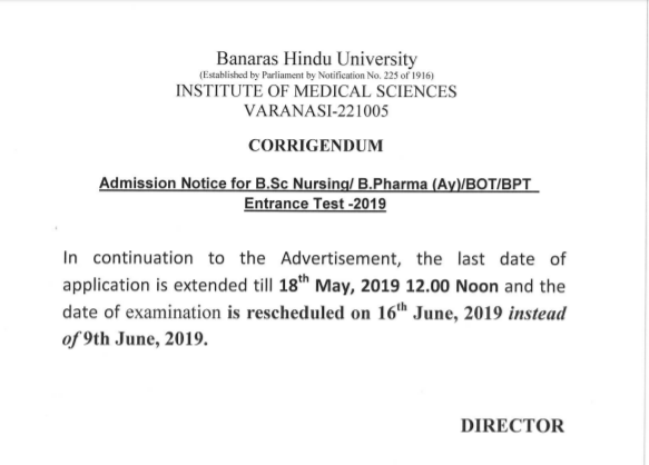 BHU B.Sc Nursing 2019 Form and Exam Dates Rescheduled