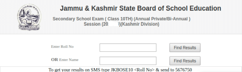 JKBOSE 10th Result Login Section