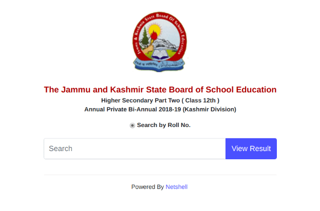 JKBOSE 12th Result Login Section