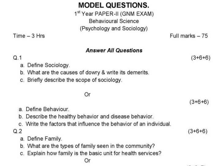 GNM Model Question Paper