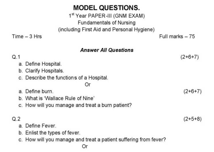 General Nursing and Midwiery Model Question Paper