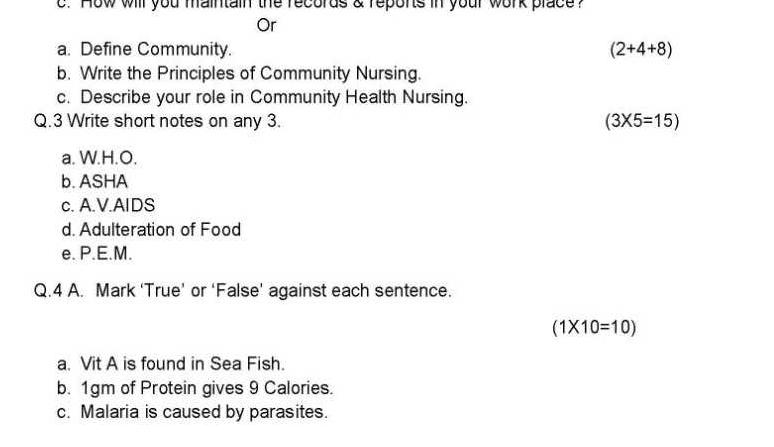 GNM Question Paper PDF