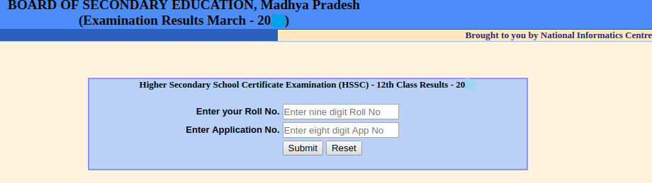 MP Board 12th Result Login Section