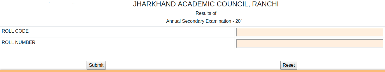 Jharkhand Board 10th Result Login Section