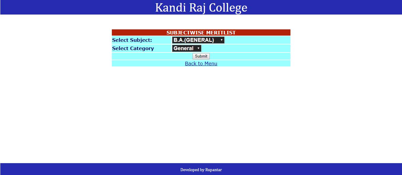 Kandi Raj Merit List