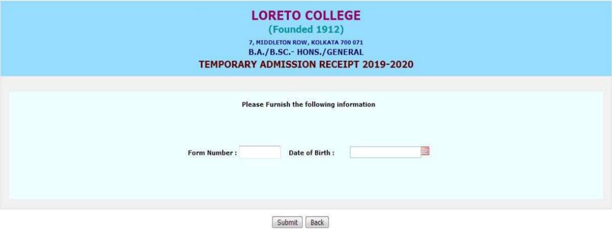 Loreto College Admission Receipt Generation 2019