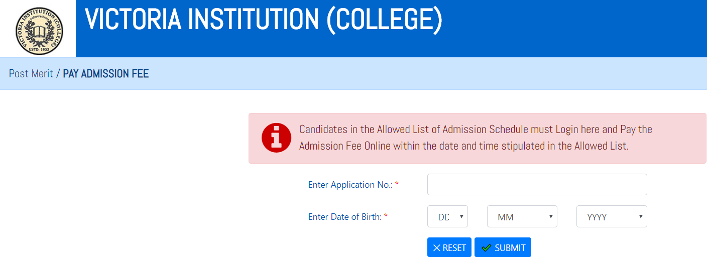 Victoria College Admission Fees Payment Screen