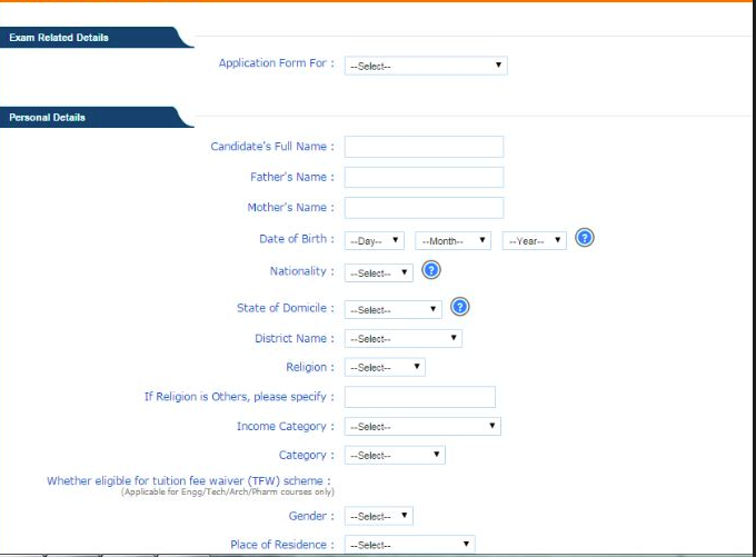 WBJEEE Application Form