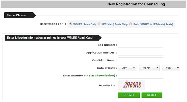 WBJEE Counselling Registration