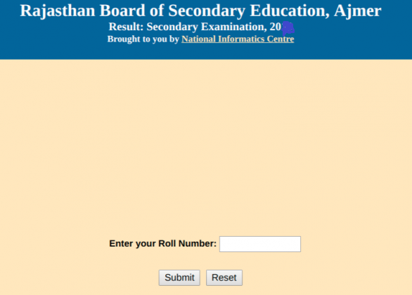 RBSE 10th Class Result Login Section