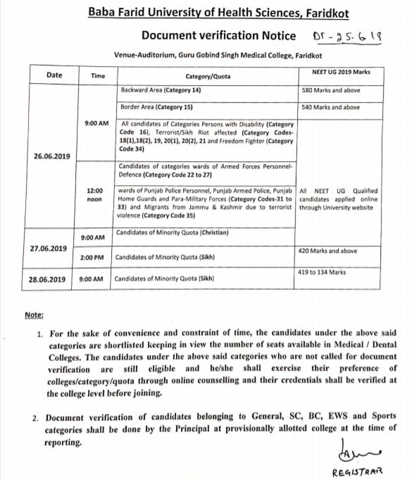 Punjab MBBS Counselling Document Verification 2019