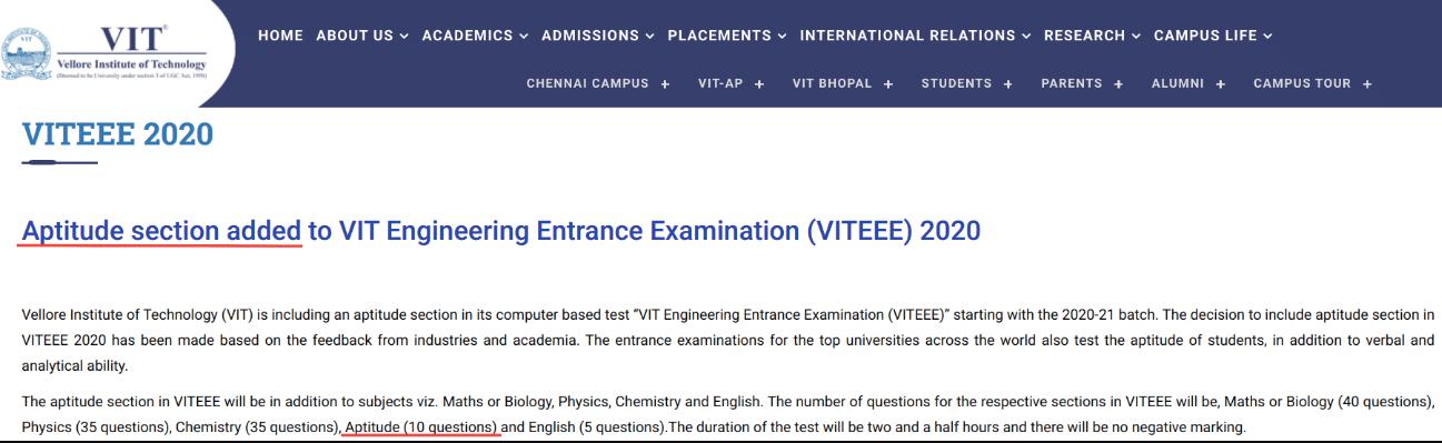 VITEEE Exam Pattern Changed