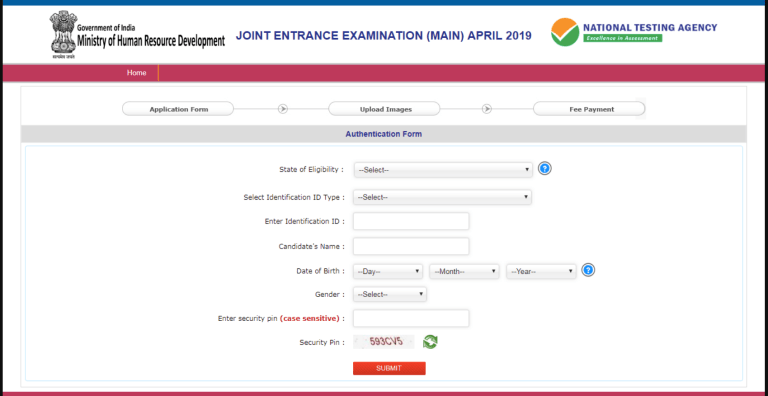 JEE Main Online Form Fill Details