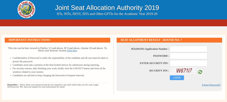 JoSAA Round 7 Seat Allotment Result
