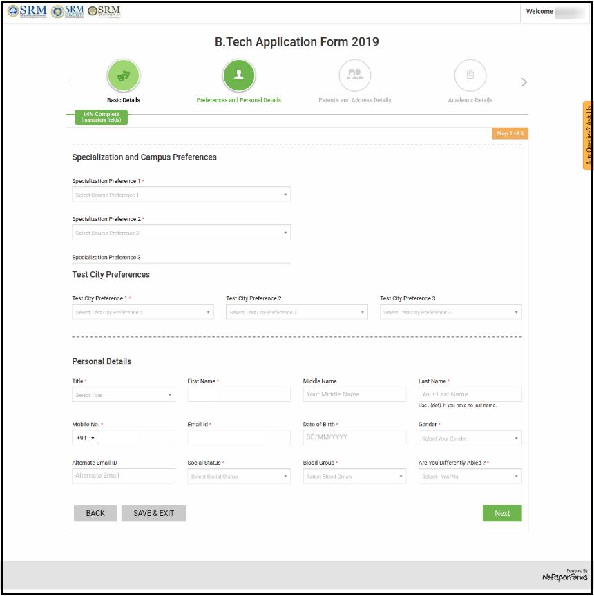SRMJEEE Application Form Page
