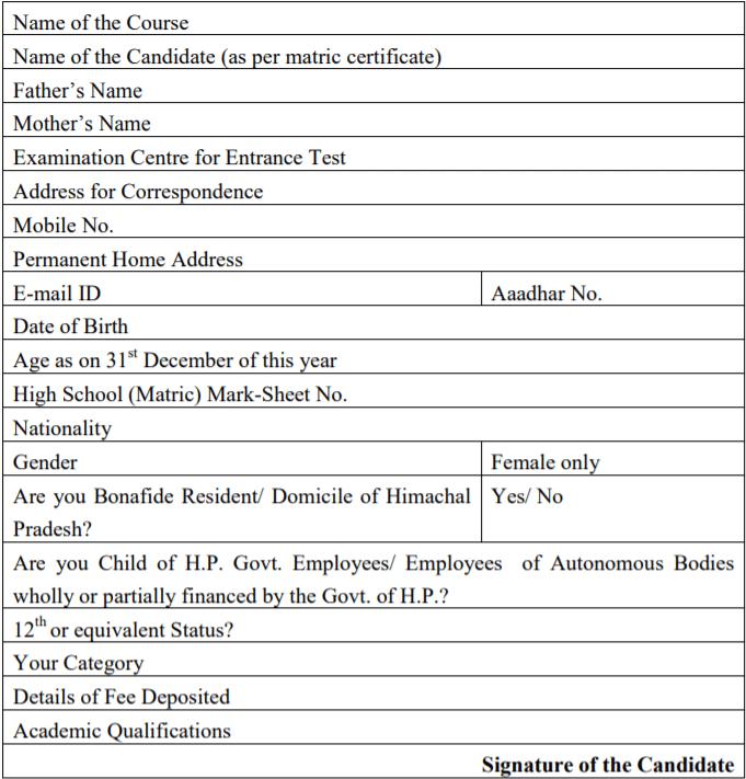 HPU B.Sc Nursing 2019 Application Form details