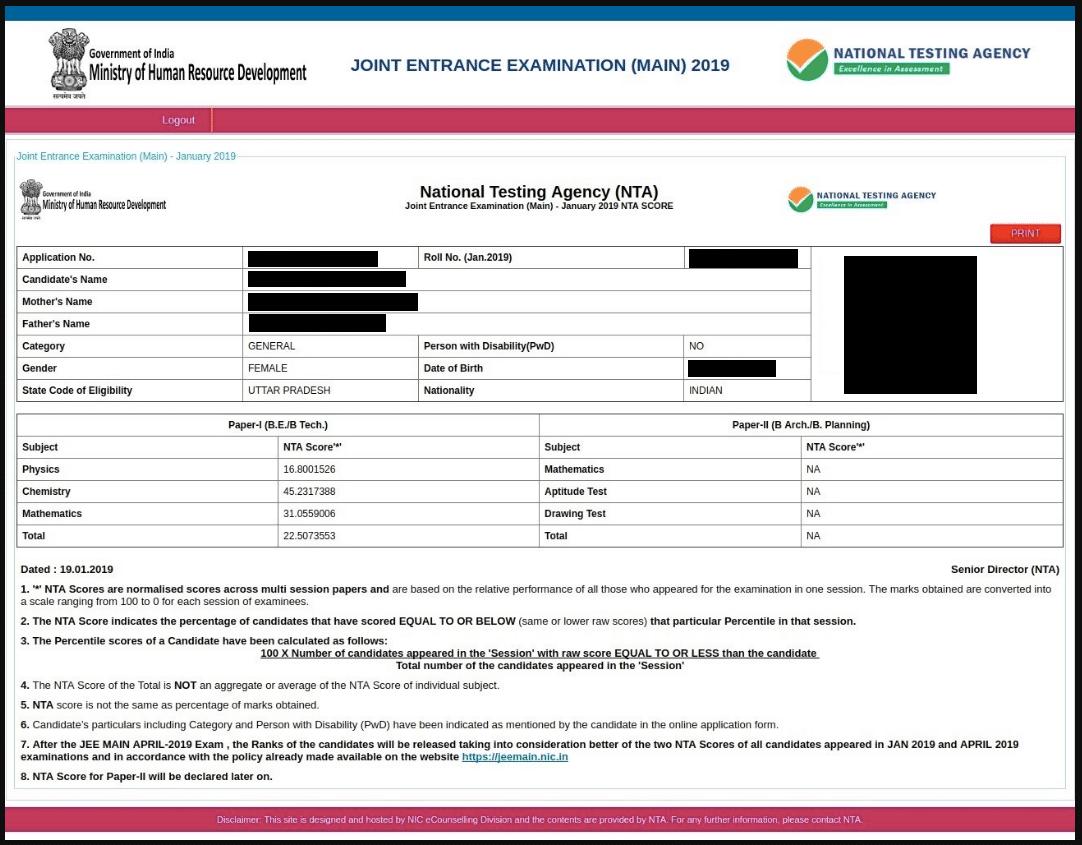 JEE Main Result (Score)