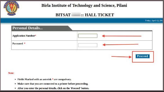 BITSAT Admit Card Details 2020