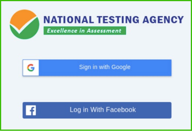 JEE main test practice centre login option