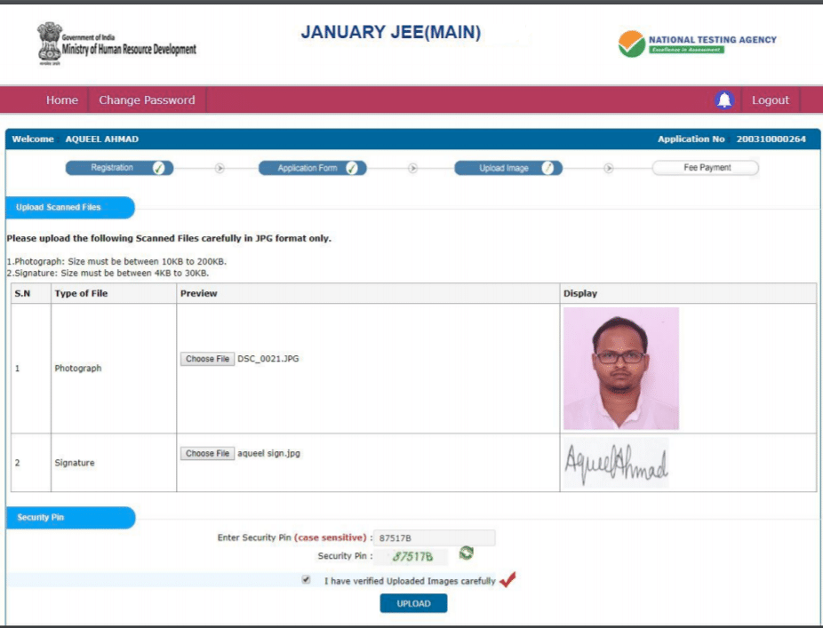 JEE Main photo and signature format