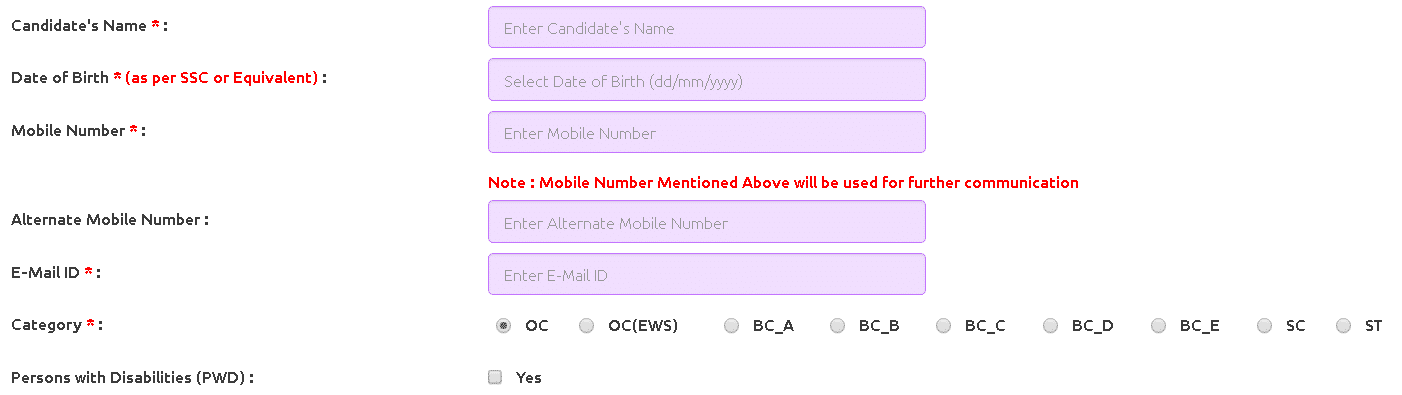 AURCET Application Form Personal Details