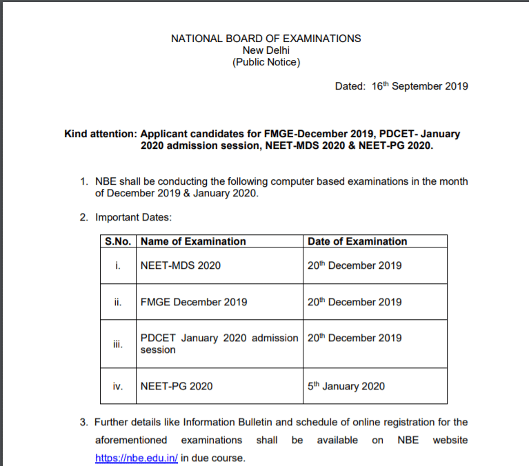 NEET MDS Official Notification 2019-20