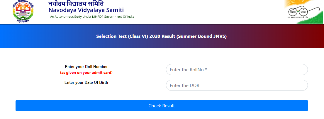 JNVST 6th Result