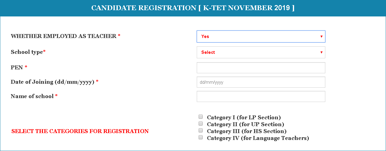 KTET Application Form Employment Details