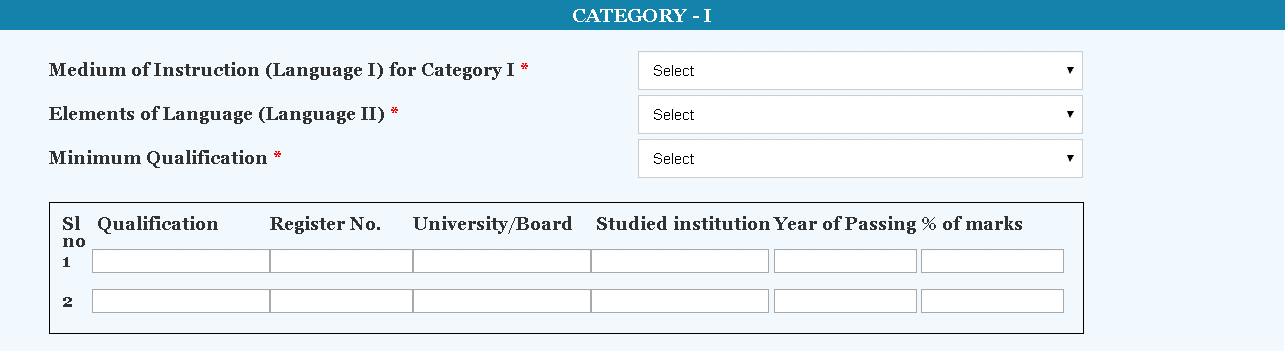 KTET Application Form Category 1 Details