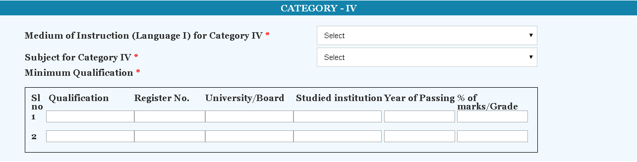 KTET Application Form Category 4 Details