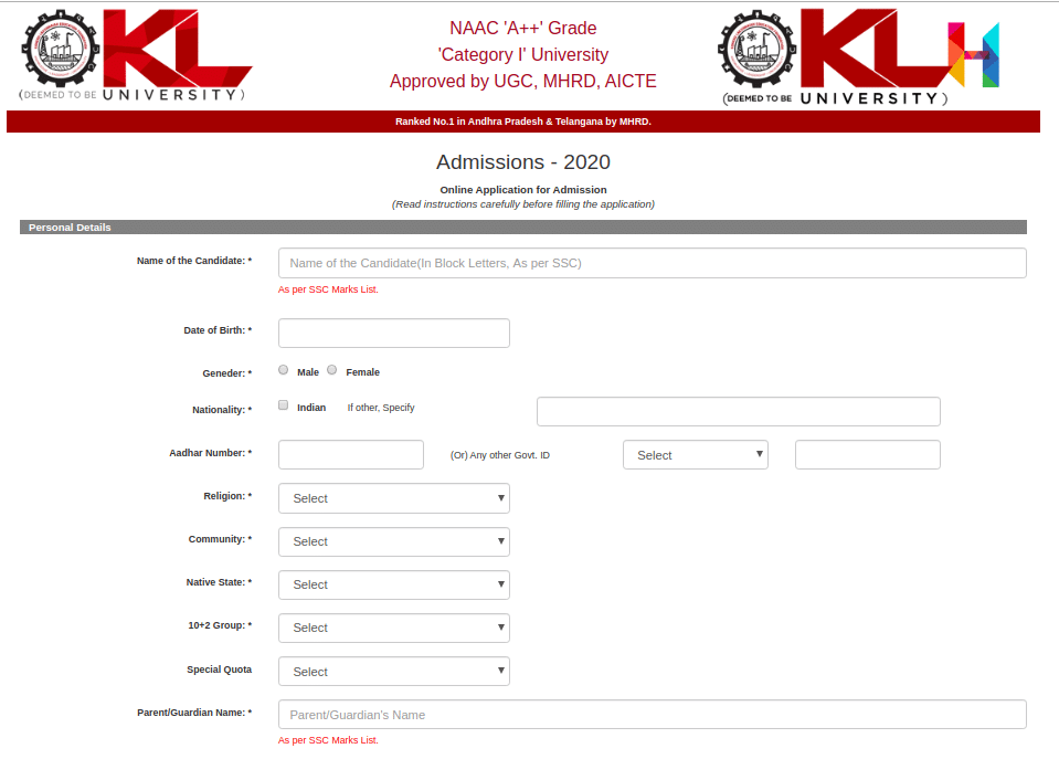 KLUEEE Registration Form 2020