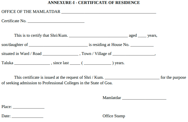 Goa ANM Residence Proof Certificate Format